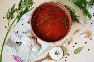 Borcht. Beetroot soup with garlic and sour cream. Ukrainian cusine.