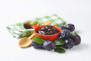 Bowl of plum jam photo