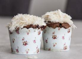Chocolate souffle with halvah
