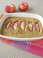 Gluten free nectarines clafoutis with buckwheat flour photo