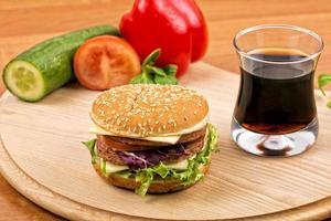Hamburger with drink