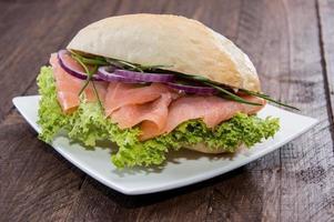 Salmon Bun on a plate