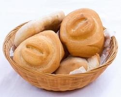 Bread in wicker basket photo