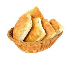 Ciabatta sandwich rolls in a wicker basket photo