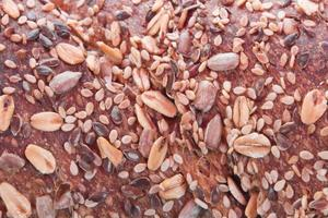 Bread with seeds on close up