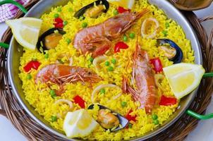 Spanish Cuisine. Paella. photo