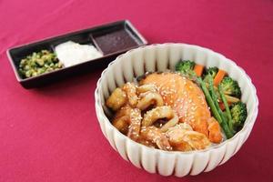 Seafood on rice photo