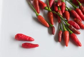 Red chili pepper on white plate
