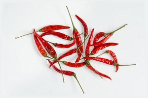 red chilli peppers isolated on white photo