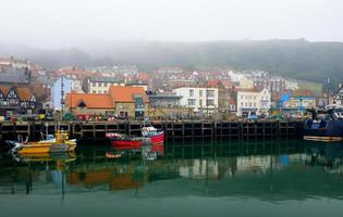 Scarborough harbour and town photo