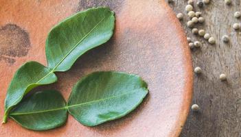 Pepper and kaffir lime leafs photo