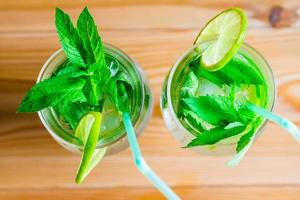 Two glasses of mojito beautifully decorated top view