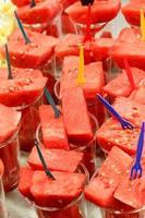 Fresh juicy cut watermelon served up photo