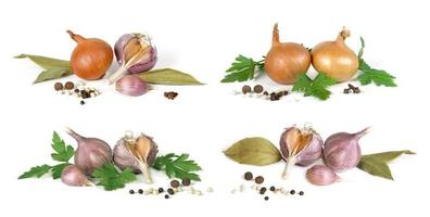 Garlic, onion and spices photo