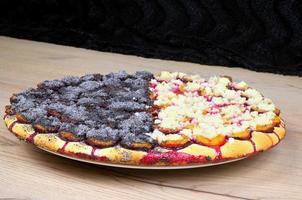 macro de gâteau aux prunes fait maison
