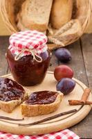 Bread with plum jam photo