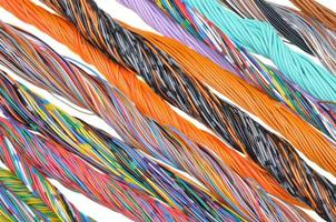 Multicolored telecommunication cables photo