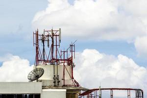 telecommunication towers with antennas photo