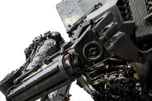 mano de cyber metálico o robot hecho de mecánica foto