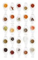 Different spices isolated on white background