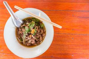 Thai Noodle small line with meat and vegetable. photo