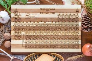 tabla periódica tabla de cortar de madera de bambú grabada foto