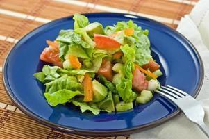 Salad on blue plate photo