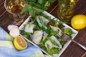White fish (toothfish) with salad