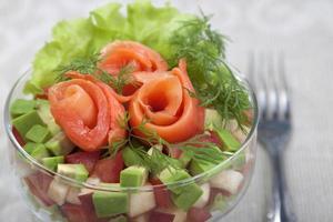Avocado salad with salmon.