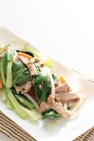 comida china, komatsuna y carne de cerdo