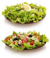 salad in plate on white photo