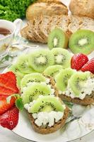 Sandwich with white cottage cheese and fruits