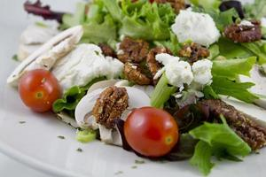 Greek salad with tomato and nuts topped with cheese