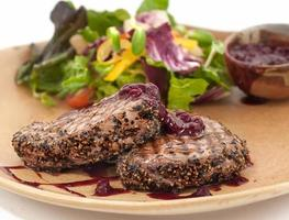 Grilled beef with pomegranate sauce