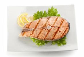 Grilled salmon stake photo