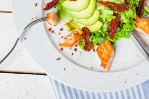 Salad with fried salmon