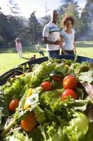 família tendo churrasco ao ar livre, prato de salada em primeiro plano