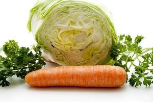 Fresh carrot with iceberg lettuce photo