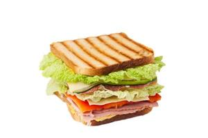 sandwich sobre un fondo blanco foto