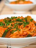 Tagliatelle with zucchini and shrimps