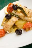 Baked Cod with olives and tomatoes
