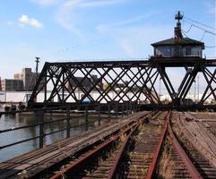 Rotating railroad bridge. photo