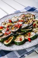 Zucchini.  Grilled zucchini. Slices of grilled zucchini on a plate.
