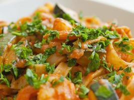 Tagliatelle with zucchini and shrimps photo