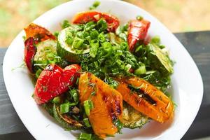 dish with grilled sweet peppers