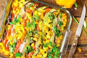 Roasted ratatouille dish top view photo