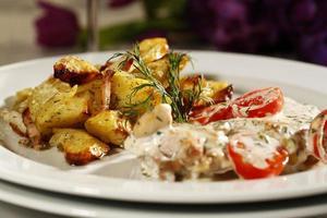 Delicious gourmet food at restaurant
