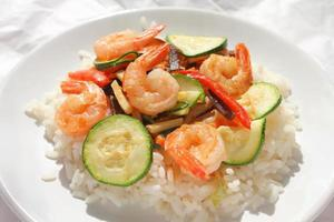 Shrimps and rice photo