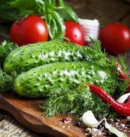 pepinos y tomates con especias y hierbas, enfoque selectivo