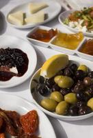 close up to classic Turkish style breakfast food plates
